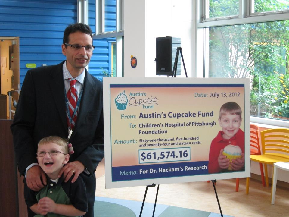 Austin's Cupcake Fund check presentation to Dr. Hackam